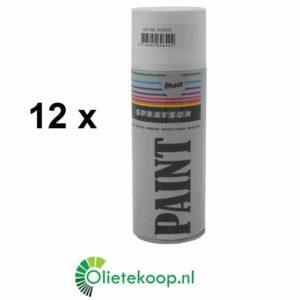 Sprayson Wit Mat (€ 1.99 / stuk) - Spuitverf - 12 x 400mL